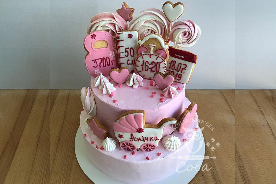 Торт на хрестини для дівчинки замовити Львів