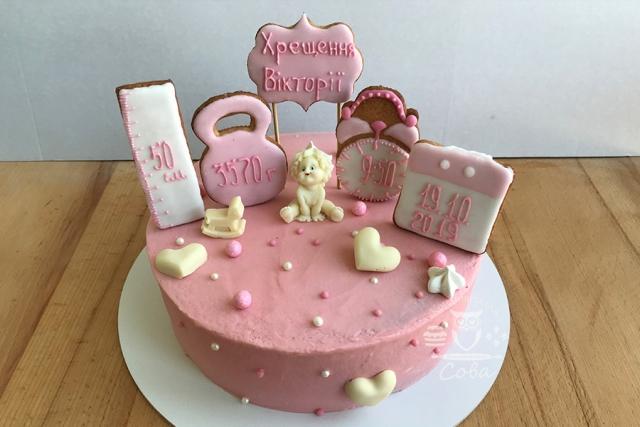 Торт на хрестини для дівчинки
