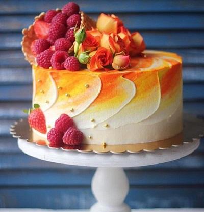 Торт декорований фруктами | Тренди дизайну тортів 2018-2019 | Блог | Торт на замовлення