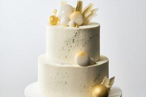 Золотий весільний торт | Замовити весільний торт у Львові
