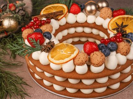Торт Різдвяний вінок на Новий рік | Торт на замовлення у Львові