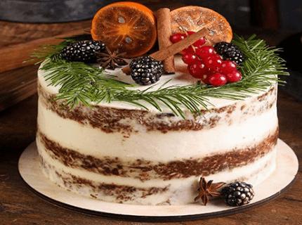 Декор торту на Новий рік з гілочками ялинки | Торт на замовлення у Львові